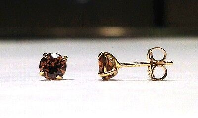1/2 Carat Round Brilliant Chocolate Stud Earrings in 14k Yellow Gold