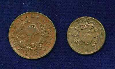 Colombia  Republic  Lot Of  2  Error Coins