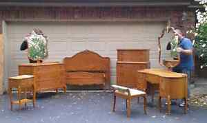 Nine piece antique solid wood bedroom set