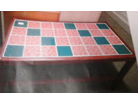 Retro red /teal coloured tiled coffee table
