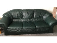 3-seater Green Leather Sofa & Matching Armchair