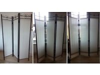 Black metal and white linen privacy screen/partition. Excellent condition.