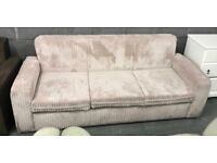 Cord fabric cream 3 seater sofa bed
