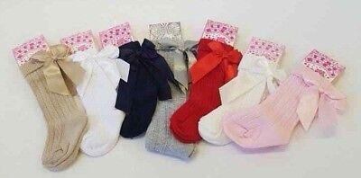 NEW Spanish /Romany Style Baby Girls Knee High Socks Ribbon Bow Newborn - 8 year