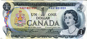 1973 Canadian $1 Replacement Bill