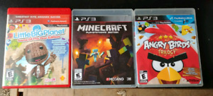 3 ps3 games. Angry birds. Minecraft. Little big planet