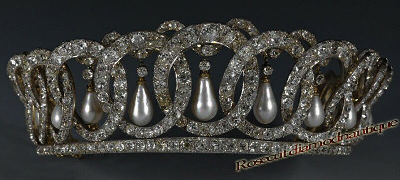 VINTAGE ANTIQUE ROSE CUT DIAMOND 11.36ct SILVER 925 ATTRACTIVE PEARL TIARA CROWN