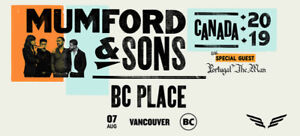 Mumford & Sons Tickets x 2 BC Place Vancouver 7th August 2019