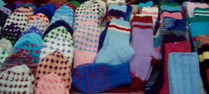 Hand made knitted socks and mittens