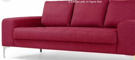 Made Vittorio 3 seater sofa - Good as NEW - exclusive Opera Red