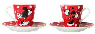 Disney Mickey und Minnie Maus Espresso-Tassen-Set mit 2 Tassen und Untertellern