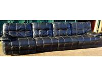 Massive Black leather 4+ seater sofa