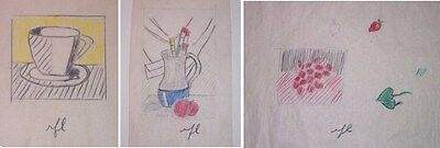 3 Roy Lichtenstein COLOR PENCIL GRAPHITE works