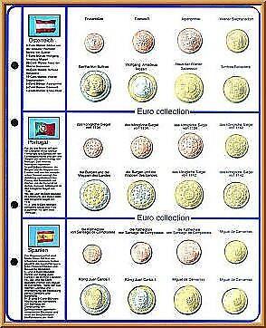 Lindner 8450-10 Vordruckblatt EURO COLLECTION: Kursmünzensätze Österreich/Portug