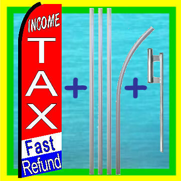 Income Tax Service 15 Tall Swooper Flag Kit Advertising Feather Flutter Banner