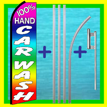 Hand Car Wash 15 Tall Swooper Flag Kit Auto Detail Feather Flutter Bow Banner