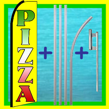 Pizza 15 Tall Swooper Flag Pole Kit Advertising Feather Flutter Bow Banner
