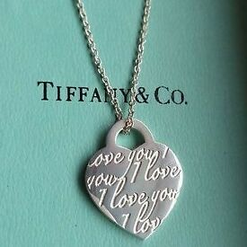 """Tiffany & co """"I love you"""" necklace boxed. Genuine silver 925."""