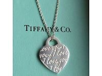 "Tiffany & co ""I love you"" necklace boxed. Genuine silver 925."