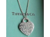 "Tiffany & co ""I love you"" necklace 925 stirling genuine."