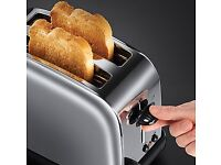 RUSSELL HOBBS STEEL AND BLACK KETTLE AND TOASTER AS NEW