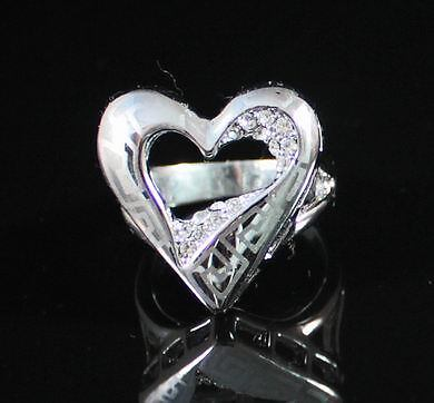 HEART COCKTAIL RING -SIZE7- AUSTRIAN RHINESTONE CRYSTAL GOLD PLATED PARTY R1215W