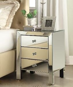 Accent 3 drawer mirrored night table, beveled mirror, NEW in box