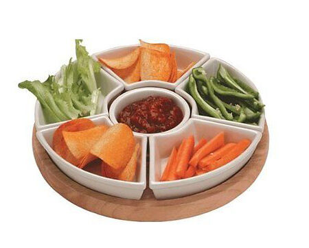 Apollo Rubber Wood Lazy Susan With Ceramic Serving Dishes
