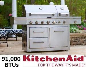 NEW* KITCHENAID PROPANE GRILL 91,000 BTU BARBECUE BBQ 6-Burner Dual Chamber Gas Stainless Steel  79612056