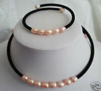7-8MM Pink Akoya Cultured Pearl Necklace bracelet