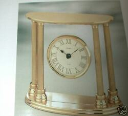 Double Column Solid Brass Table Clock w/ Floating Dial MODEL TGO1192