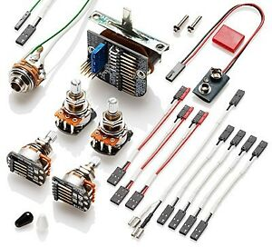 EMG 3 Pickup Wiring kit with 5 way Switch Long Shaft Pots (New)