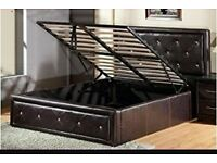 Black leather double bed with diamonte with matress