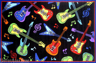 Music Rug (3x5  Area Rug Guitars Rock N Roll Music Fun Time Guitar Room Black w Non)