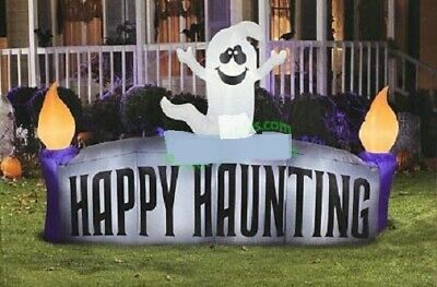 HALLOWEEN 8 FT HAPPY HAUNTING GHOST SIGN Airblown Inflatable GEMMY