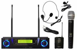 PYLEPRO PDWM3500 PROFESSIONAL UHF DUAL CHANNEL WIRELESS MICROPHONE SYSTEM HANDHELD HEADSET / LAVALIER MIC'S