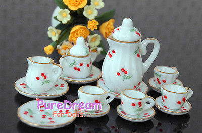 Lot of 15PCS 1/12 Dollhouse Miniature Coffee Tea Cup Set Nice Red Cherry  DC036