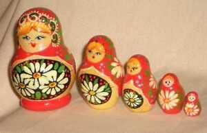 "Ekaterina Maiden Matryoshka 3"" 5pcs Russian Nesting Dolls"