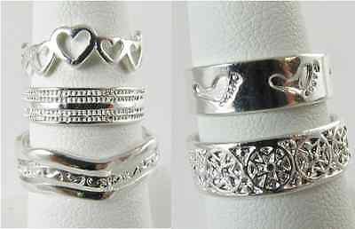 New Wholesale Lot 5 PC Toe Ring 925 Sterling Silver Plate Fashion Jewelry Mix