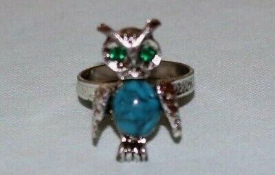 - Vintage Owl Jelly Belly Ring Rhinestone Eyes Adjustable Band