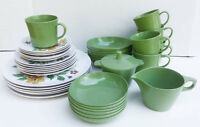 Vintage Melamine Dishes  Set of six  Ocher Green Flowers Plates.