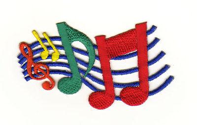 aa04 Musik Noten Linien Notenschlüssel Aufnäher Bügelbild Patch Bunt 7,4 x 5 cm ()
