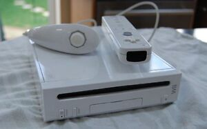 Nintendo Wii with two controllers