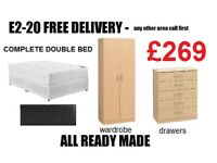 Double Bed + Wardrobe + Chest Drawer £269 FREE DELIVERY & SET UP IN ROOM OF CHOICE