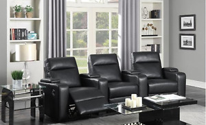 gel leather home theatre set, 3 recliner seats and drink holders
