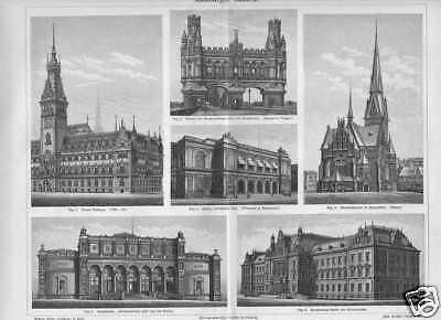 HAMBURG Rathaus Kunsthalle Börse HOLZSTICH von 1897