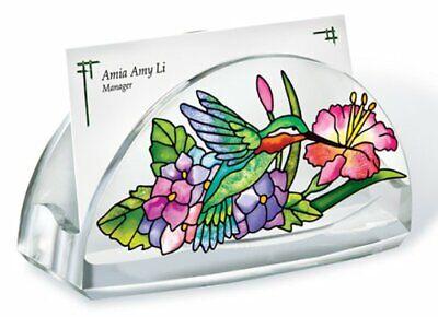Hydrangea And Hummingbird Business Card Holder Acrylic New Flowers