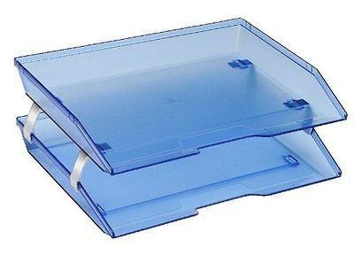 Acrimet Facility 2 Tiers Double Letter Tray Clear Blue Color