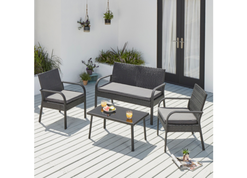 Garden Furniture - Rattan Garden Furniture Set 4 Piece Conservatory Patio Outdoor Table Chairs Sofa
