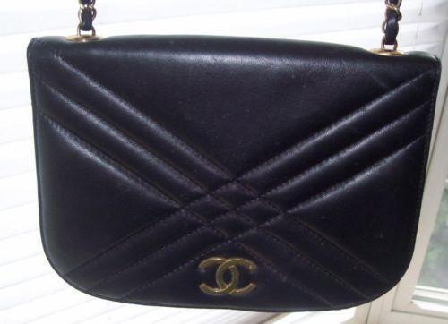 chanel bag flap black leather ebay